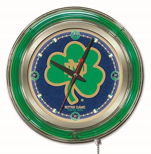 Holland Bar Stool Co. NCAA Notre Dame Fighting Irish Shamrock Double Neon Ring 15-Inch Diameter Logo Clock