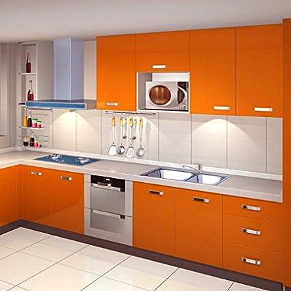 KINLO 0.61*50M PVC Pegatina de Mueble Papel Pintado Naranja Autoadhesivo Pegatinas impermeables para forrar un mueble del cocina y baño ...