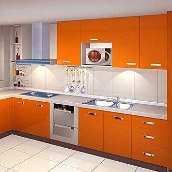 KINLO 0.61*50M PVC Pegatina de Mueble Papel Pintado Naranja ...