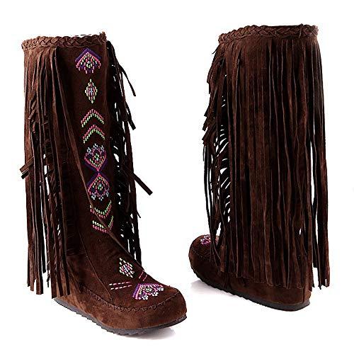 Planos Invierno Borlas Para Moda Planas Logobeing Mujer Botas Botines Tacon Con Ancho Zapatos De Plataforma Bajo Flock Marrón Cilindro AqxtgEw