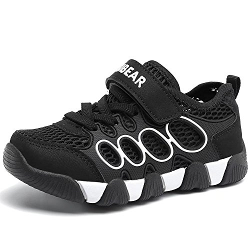 HOBIBEAR Boys Outdoor Strap Athletic Sneakers Running Shoes Black