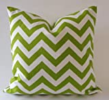 Set of 2 Chevron- Zig Zag Print Design Decorative Throw Pillows Covers -Medium Weight Cotton Print- Invisible Zipper Closure (Lime/ White, 16x16 Pillow cover only)