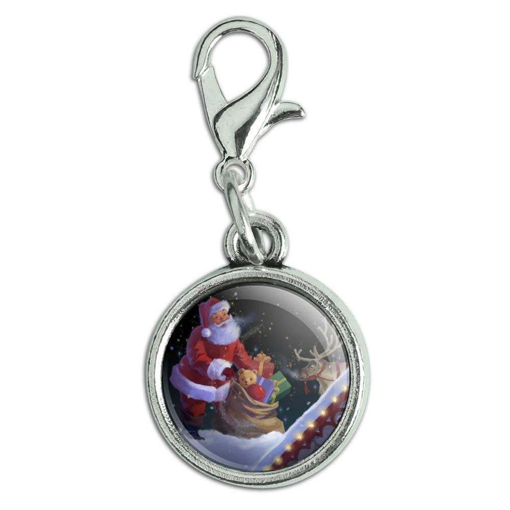 GRAPHICS /& MORE Christmas Holiday Santa Rooftop Magic Antiqued Bracelet Pendant Zipper Pull Charm with Lobster Clasp