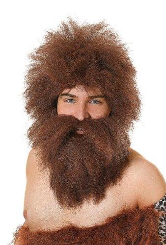 Bristol Novelty BW737 Caveman Wig and Beard Set, One (Prehistoric Beard & Costumes Wig Set)