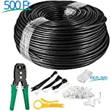 Maximm Cat6 UV Outdoor Cable (500ft – Black) Zero Lag Pure Copper 550Mhz, Waterproof Ethernet Cable Suitable Direct Burial Installations.