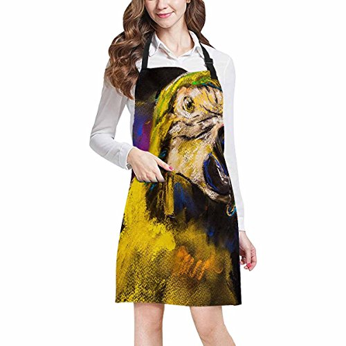 - InterestPrint Modern Beautiful Parrot Animal Oil Painting Home Kitchen Apron for Women Men with Pockets, Unisex Adjustable Bib Apron for Cooking Baking Gardening, Large Size