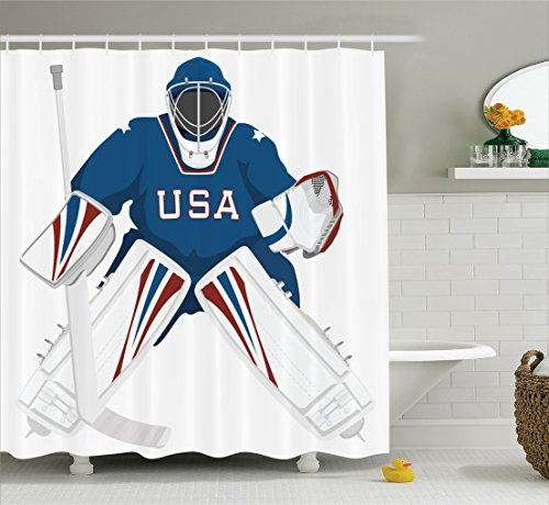 (Ambesonne Sports Decor Collection, Team USA Hockey Goalie Protection Jersey Sportswear Illustrations Design Print, Polyester Fabric Bathroom Shower Curtain Set with Hooks, Burgundy Blue White)