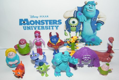 Disney Monsters University Movie Deluxe Toy Figure Set of 12 with Mike, Sulley, Art, Squishy, Dean Hardscrabble and More!