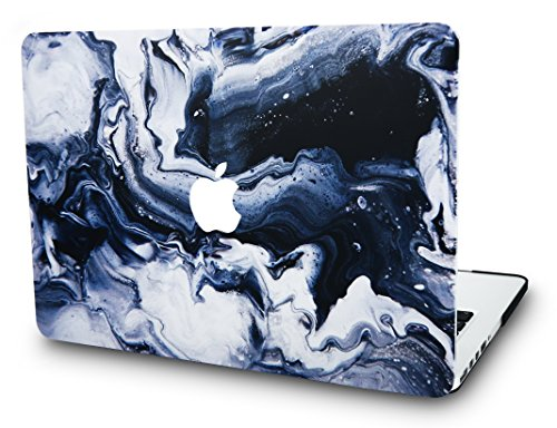 "KEC MacBook Pro 13"" Case (2017 & 2016 Touch Bar) Cover Marble Plastic Hard Shell A1706 / A1708 (Black Grey Marble)"