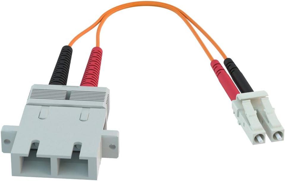 CableRack SC to LC Fiber Adapter 50//125 OM2 Multimode Duplex Converter Dongle