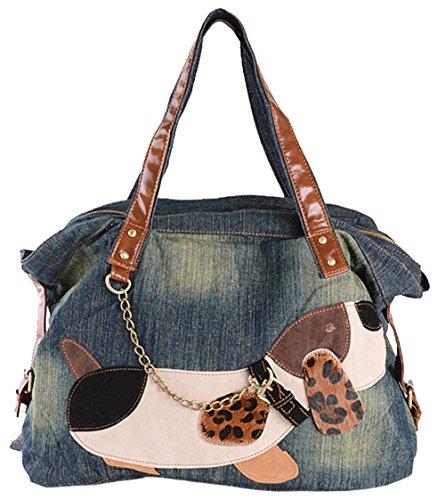 Womens Handbag Purse Tote Hobo Shoulder Bags Dog Pattern,Denim (Jean Purse Pattern)