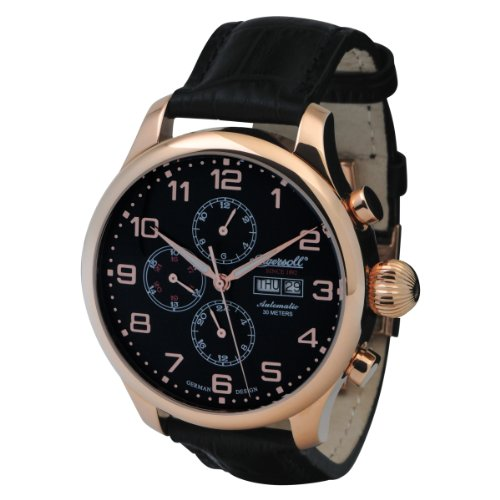 Ingersoll Men's IN3900RBK Classic Automatic Rose-Tone Black Leather Watch