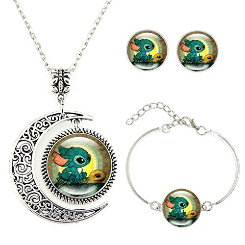 [Moon pendant Disney's Llilo and Stitch necklace Stitch and Turtle Necklace Bracelet Earrings jewelry] (Necklaces And Earrings)