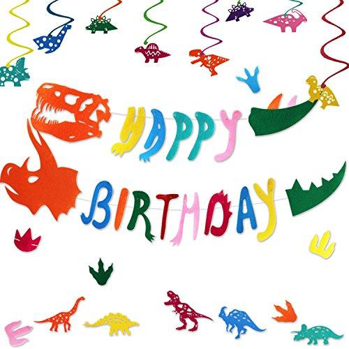 Dinosaur Happy Birthday Banner for Boys Girls-Dinosaur Theme Party Supplies Decorations -