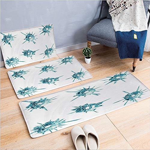 3 Piece Non-Slip Doormat 3d print for Door mat living room kitchen absorbent kitchen mat,Crystal Like Diamonds with Spike like Lights Image,15.7