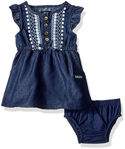 DKNY Baby Girls Casual Dress, Dark Wash-Xocfg, 6-9 Months