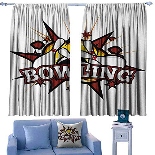 (Mannwarehouse Bowling Party Soft Curtain Cartoon Comic Book Style Design Stars Retro Style with Crash Effects Suitable for Bedroom Living Room Study, etc.55 Wx72 L Ruby White Yellow)