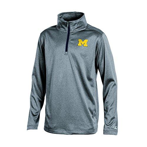 NCAA Michigan Wolverines Boys Long Sleeve Synthetic Quarter Zip Jacket, Gray Heather, Medium