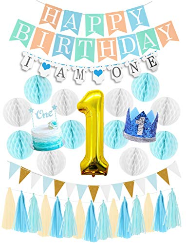 First Birthday Boy Decorations Set | Baby Boy 1st Birthday Part Hat Gold Crown | Cake Topper