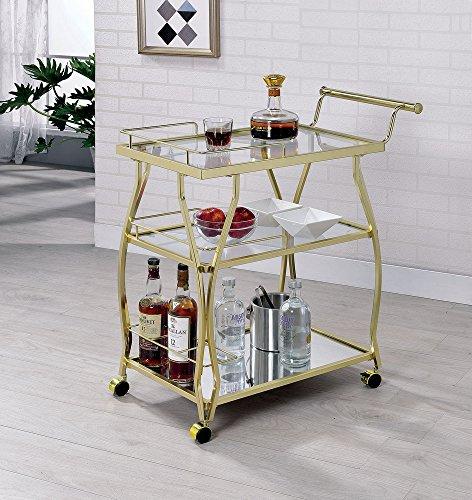 Cedar Park Gold Glass/Metal Serving Cart by Furniture of America