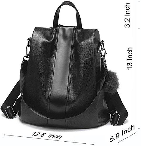 Riavik Women Backpack Purse Waterproof Nylon Anti-theft Rucksack Scool Shoulder Bag for Girls PU-Black by Riavika (Image #2)