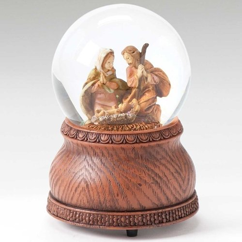 Family Snowglobe - Roman Fontanini Holy Family Nativity Christmas Musical 80mm Glitterdome Snowglobe