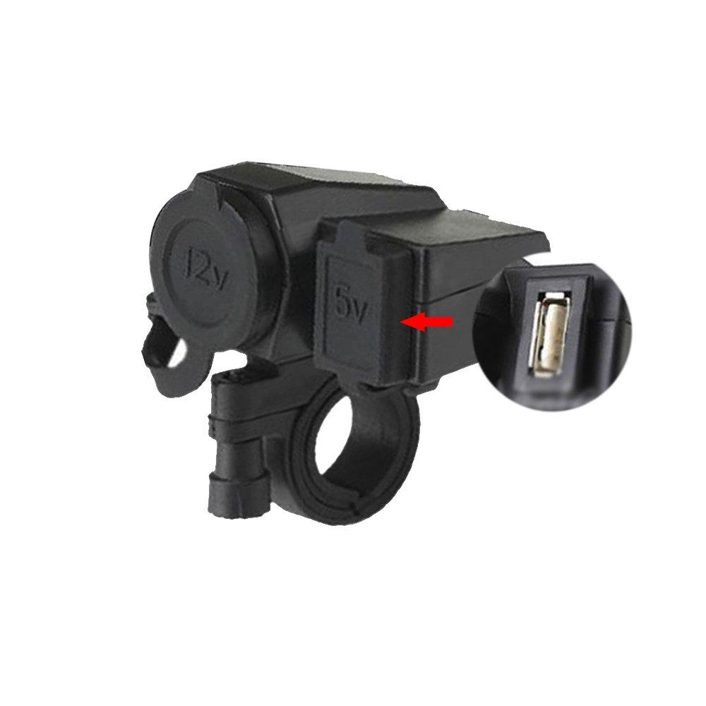 防水12 Vシガレットライターソケットオートバイハンドルクランプwith 5 V/2.1 AデュアルUSB出力電源アダプタ充電器USB充電system-ブラック B072KM763N