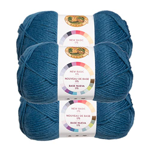 (Lion Brand (3 Pack) New Basic Acrylic & Wool Soft Petro Blue Yarn for Knitting Crocheting Medium #4)