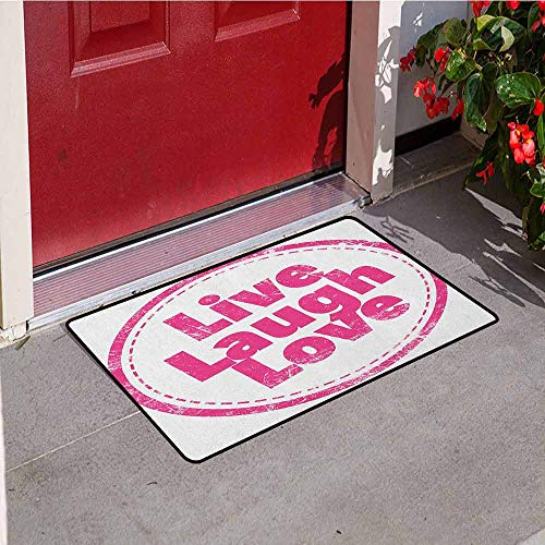 GloriaJohnson Live Laugh Love Welcome Door mat Motivational Lifestyle Stamp Cute Grunge Retro Artwork Illustration Door mat is odorless and Durable W19.7 x L31.5 Inch Hot Pink White (Tv Seen On Hot Stamps As)