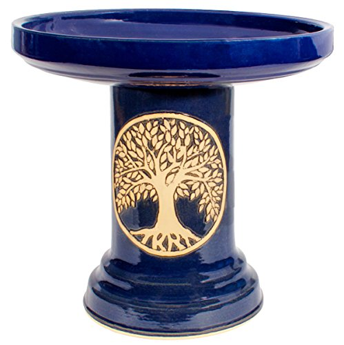 Burley Clay Glazed Tree of Life Outdoor Bird Bath - Blue Tree Of Life Pottery
