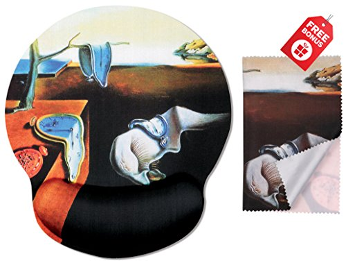 Salvador Dali The Persistence of Memory Ergonomic Design Mouse Pad with Wrist Rest Hand Support. Round Large Mousing Area. Matching Microfiber Cleaning Cloth for Glasses & ()
