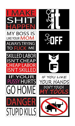 Best Selling Funny Work Hard Hat Helmet Stickers Decals Toolbox Construction Worker Mechanic Value Pack