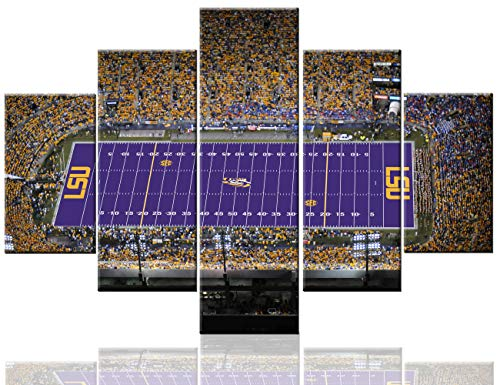 (Sports Wall Art Tiger Stadium Paintings on Canvas LSU Tigers Football Team Pictures 5 Pcs/Multi Panel Canvas Contemporary Artwork USA Home Decor for Living Room Framed Ready to Hang(60''Wx40''H))