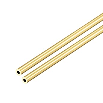 Brass Round Tube 300mm Length 11mm OD 0.5mm Wall Thickness Seamless Tubing 2 Pcs