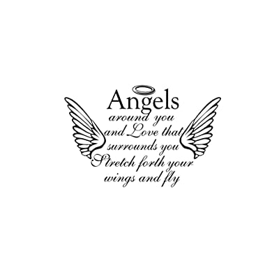 Angels around you and love that surrounds you 23 x 15 Vinyl wall quote decal sticker church religious calligraphy Corinthians Decal Art Decor Motivational Inspirational Decorative lettering: Home & Kitchen