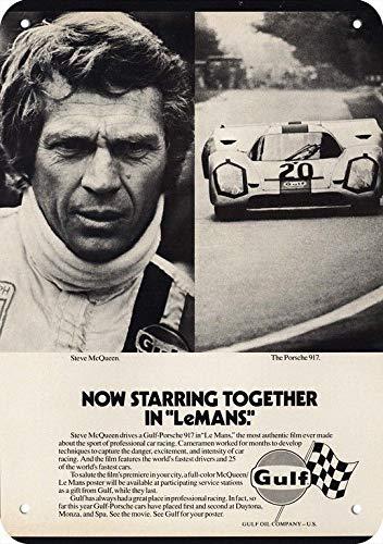 """Yilooom 1971 Porsche 917 Gulf Race Car Replica Metal Sign 7"""" x 10""""- Lemans Starring Steve McQueen"""