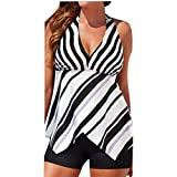 Plus Size Swimsuits Women Tankini Sets with Boy Shorts Ladies Swimwear Two Piece Set (3XL, White)