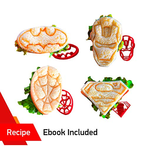 Superhero Mini Sandwich Cutter Set by WNF Craft - Fun Shapes of Superman Batman Ironman and Spiderman - Press Molds Perfect for Lunch box and Breakfast Fun Bites -Great for Adults and Kids of All Ages (Lunch Batman Box Adult)