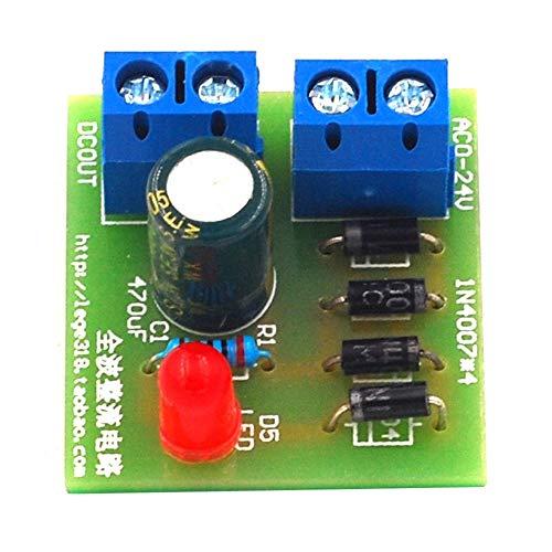 1N4007 Puente rectificador de CA a CC Convertidor de potencia Full Wave Rectifier Board Kit Convertidor de potencia Piezas verde
