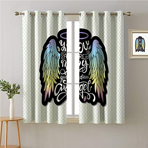 Guardian Angel Grommet Room/Bedroom,,You are My Guardian Angel Wording Wings and Halo on Tiny Checkered Backdrop,Decorative Darkening Curtains,72W x 72L