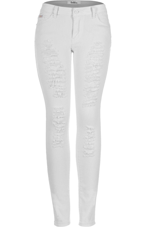 BodiLove Women's 2LUV Distressed Skinny Jeans White 9