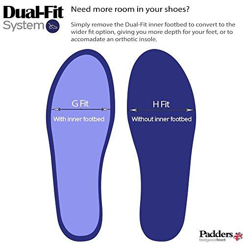 Padders Herren Lederschuhe Regain | Extra Breite G-H Größe | Dual Fit System | kostenloser Rückversand nach UK | Gratis Footcare UK Schuhanzieher Schwarz / Kombi