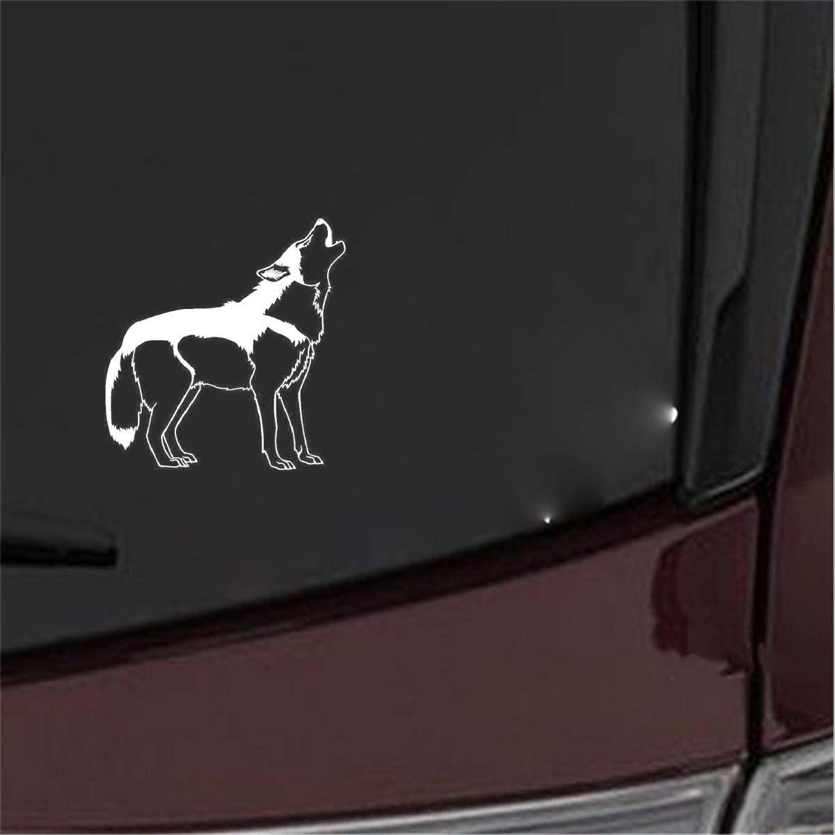 Promini Premium Anti-Dust Vinyl Decal A Howling Wolf Creative Car Door Stickers Large Wild Animal Car Styling Decals for Car Laptop Window Sticker 6 Inches
