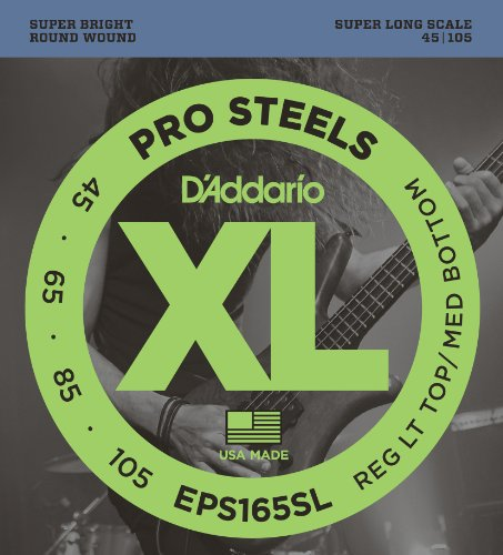D'Addario EPS165SL ProSteels Bass Guitar Strings, Custom Light, 45-105, Super Long Scale