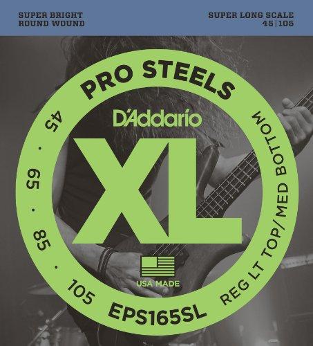 D'Addario EPS165SL ProSteels Bass Guitar Strings, Custom Light, 45-105, Super Long Scale (Long Scale)