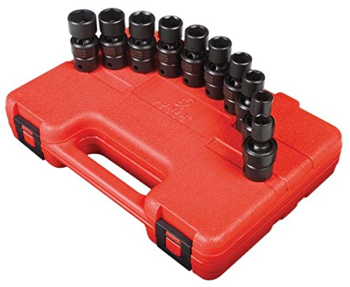 Sunex 3657 3/8-Inch Drive Universal Impact Socket Set, Metric, Standard, 6-Point, Cr-Mo, 10mm - 19mm, - Drive International Outlet Stores