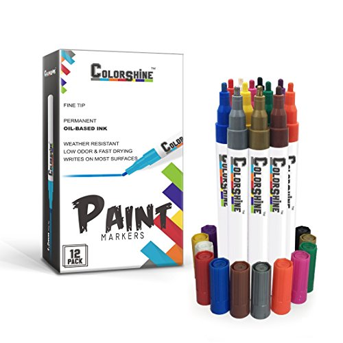 Colorshine Premium Paint Pen Set - Oil Based Marker, Fine Point, 12 Pack Holiday Gift, Fast Drying, Permanent, Low Odor, Writes on Rocks, Stone, Ceramic, Porcelain, Plastic, Metal, Wood, Glass, Fabric