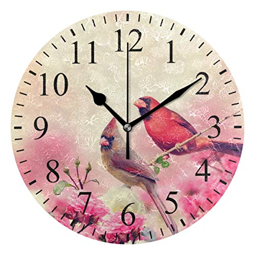 Cardinals Glass Night Light (Grapefruit Boy Wall Clock,10 Inch Male and Female Northern Cardinals Pink Flowers Pa Clock Battery Operated Round Easy to Read Home/Office/School Clock)
