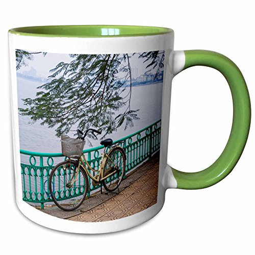 3dRose Danita Delimont - Bicycles - Vietnam, Hanoi. Tay Ho, West Lake, bicycle - 11oz Two-Tone Green Mug (mug_257309_7)
