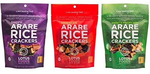 Lotus Foods Gluten Free Arare Rice Crackers 3 Flavor Variety Bundle, (1) each: Tamari, Sriracha, and Sweet & Savory Thai (5 Ounces)